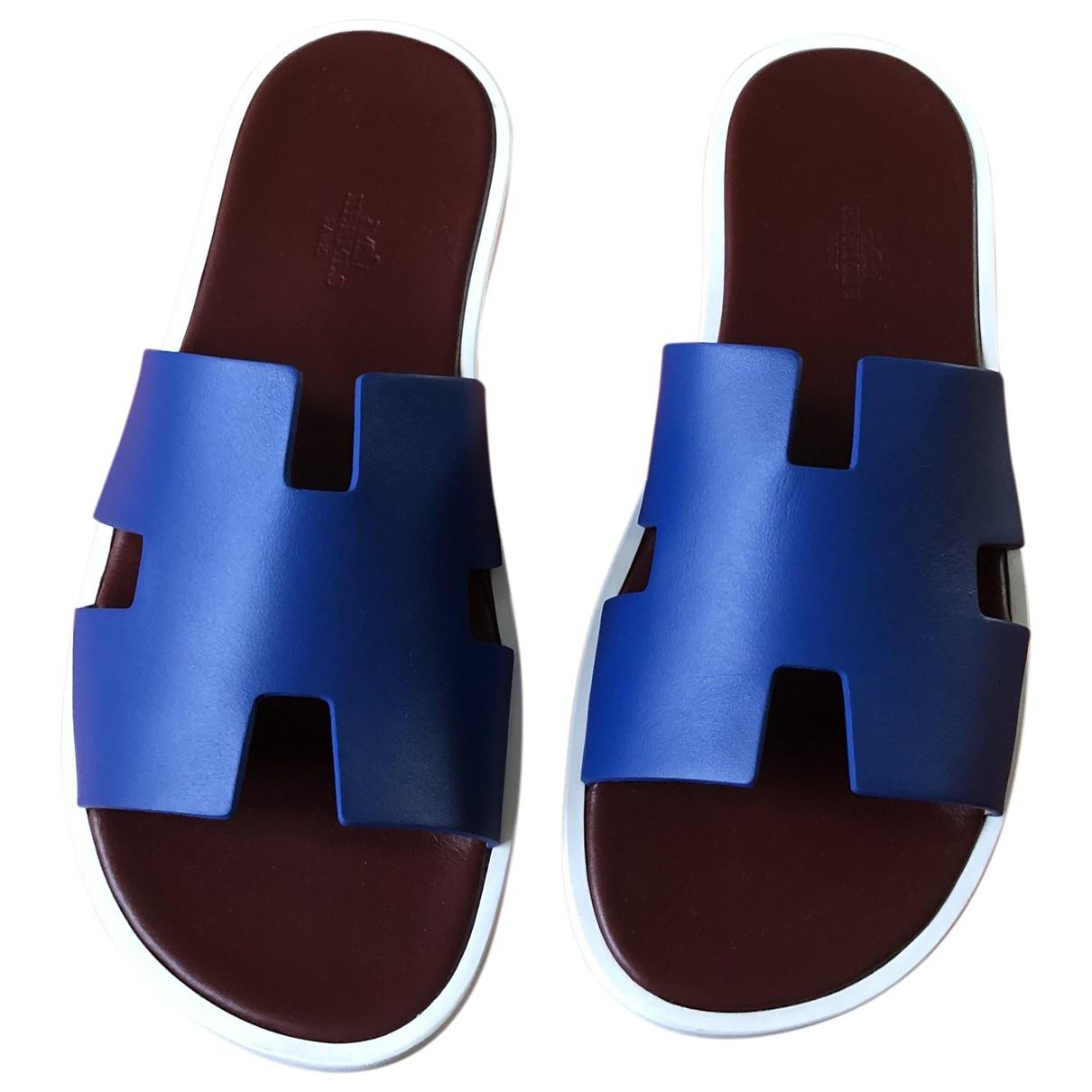 Hermès Izmir Blue Leather Sandals for Men 41.5 EU