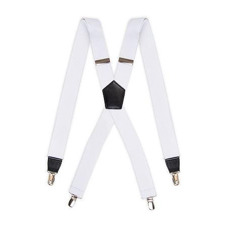 JF. J Ferrar Stretch Mens Suspender, One Size , White