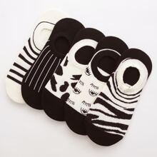 5pairs Two Tone Socks