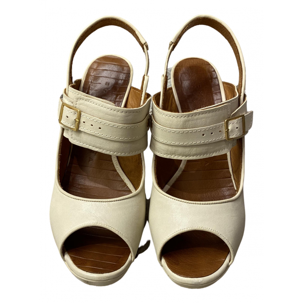 Chie Mihara N White Leather Heels for Women 38 EU