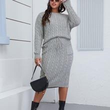 Jersey tejido de cable con falda tejida con cordon