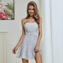Double Crazy Cami Kleid mit Ruesche, Glitzer und Netzstoff
