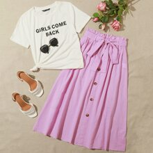 Slogan Graphic Top & Paperbag Waist Buttoned Front Skirt Set