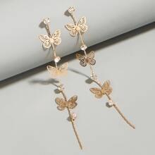 Pendientes largos con mariposa