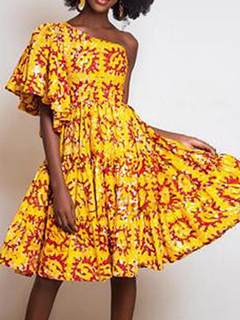 Ericdress Knee-Length Half Sleeve Oblique Collar One-Shoulder Dress