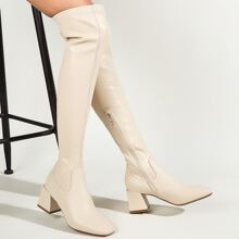 Square Toe Chunky Heeled Over The Knee Boots