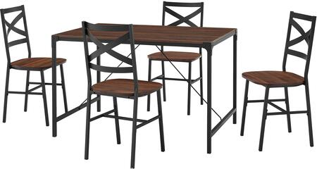 TW48AI5DW 5-Piece Angle Iron Dining Set with X Back Chairs in Dark