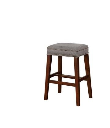 BS103GRY01U Walt Collection Bar Height Stool with Backless Design Traditional Style  Solid Wood Frame and Polyester Upholstery in Grey