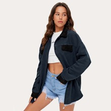 Colorblock Button Front Outwear