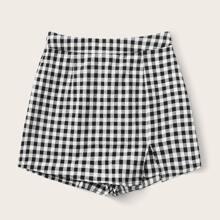 Hosenrock mit Schlitz am Saum und Karo Muster