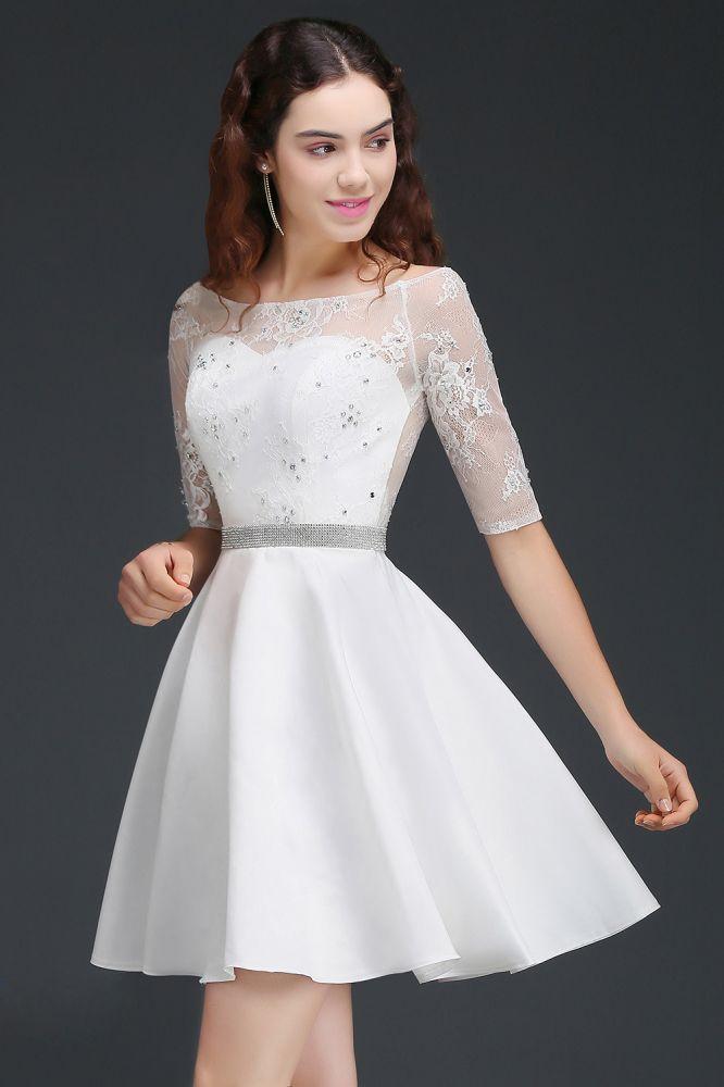 ALICIA | Une ligne bijou blanc manches courtes robes de retour en satin avec dentelle