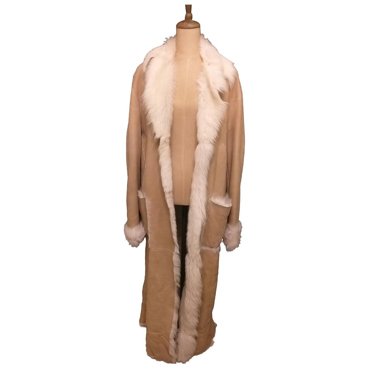 Roberto Cavalli - Manteau   pour femme en mouton - beige