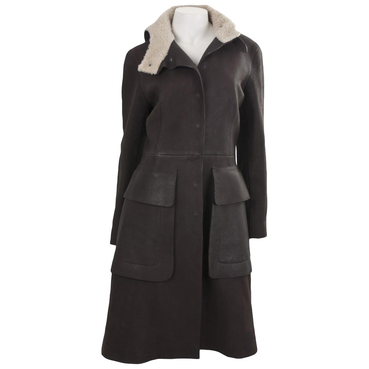 Hermès \N Brown Leather coat for Women 38 FR