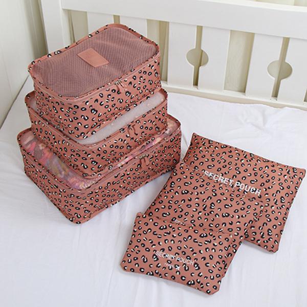 6Pcs Pink Leopard Multi-Functional Waterproof Travel Storage Bags Luggage Organizers