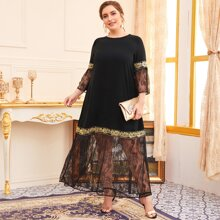 Plus Lace Panel Embroidery Smock Dress