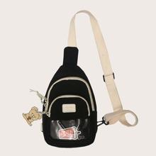 Pocket Front Sling Bag With Bag Charm