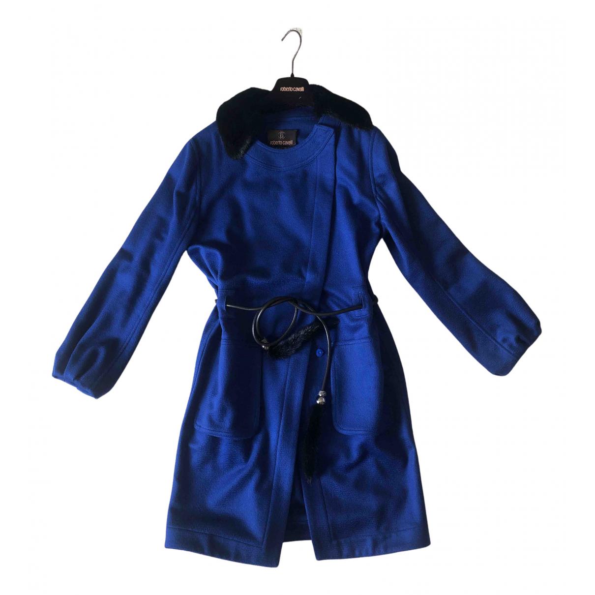Roberto Cavalli - Manteau   pour femme en laine - bleu