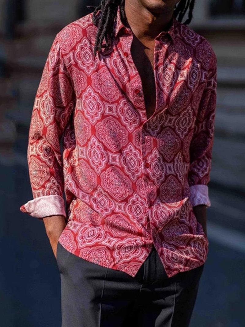 Ericdress Casual Print Floral Loose Men's Shirt