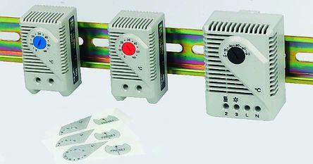 STEGO , Enclosure Thermostat, Adjustable, NC, NO, DIN Rail, 120 → 250 V ac