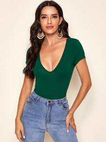 Plunging Neck Form Fitted Top