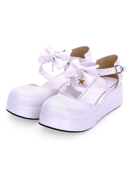 Milanoo Sweet Lolita Shoes Bow Starlet Strappy PU Lolita Flatform Shoes