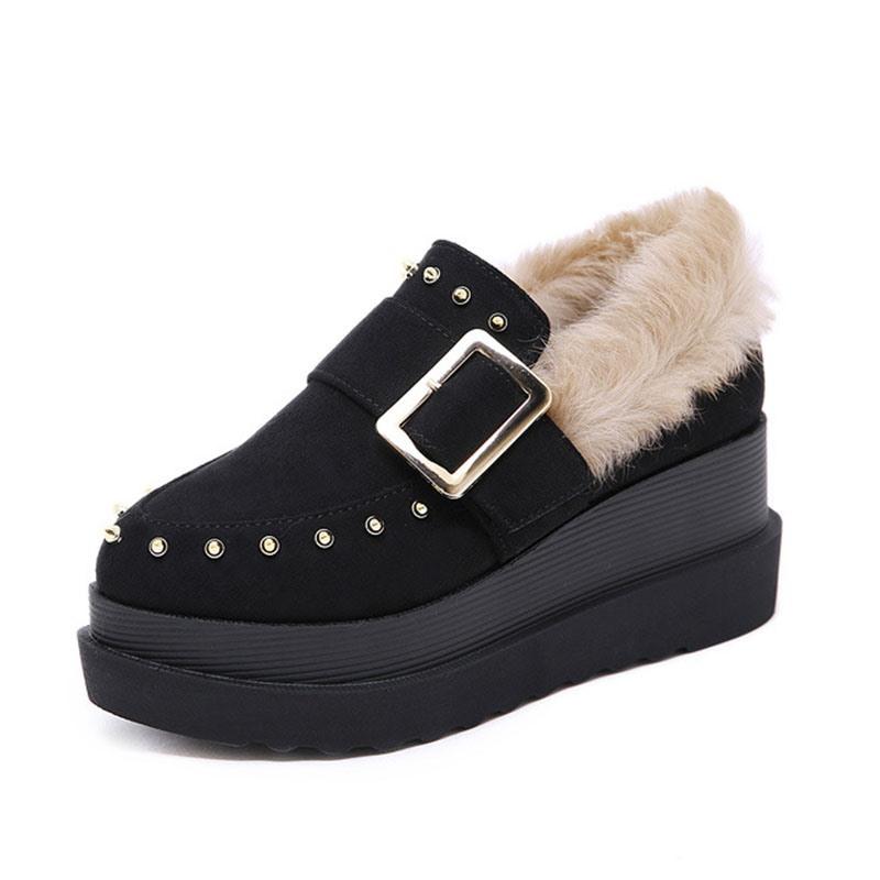 Ericdress Wedge Heel Pointed Toe Slip-On Women's Winter Flats