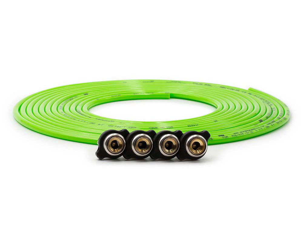Up Down Air 340-4100-GRN Tire Inflator Hose Replacement 240 Inch W/4 Quick Release Chucks Green