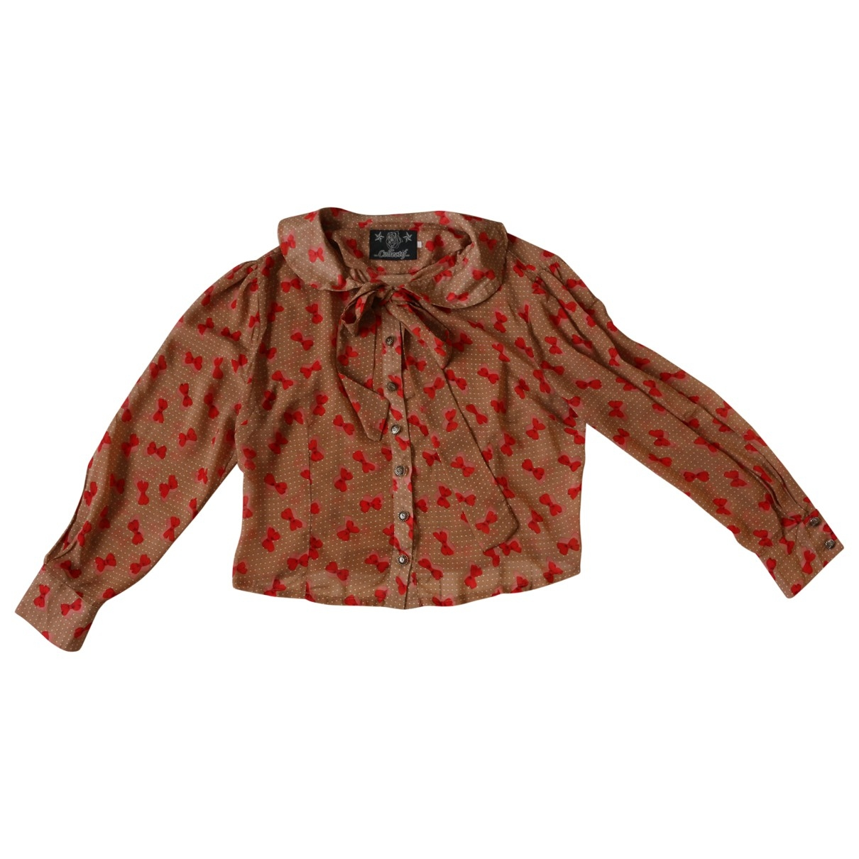Non Signé / Unsigned Manche ballon Brown  top for Women One Size International