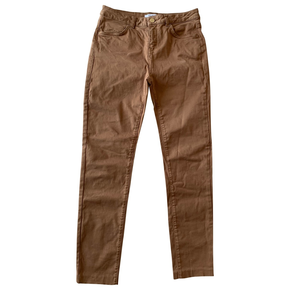 Gerard Darel \N Brown Cotton Trousers for Women 38 FR