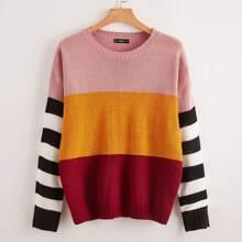 Pullover mit Streifen auf Ärmeln und Farbblock