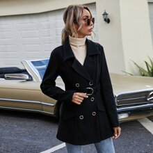 Lapel Neck Double Breasted Coat