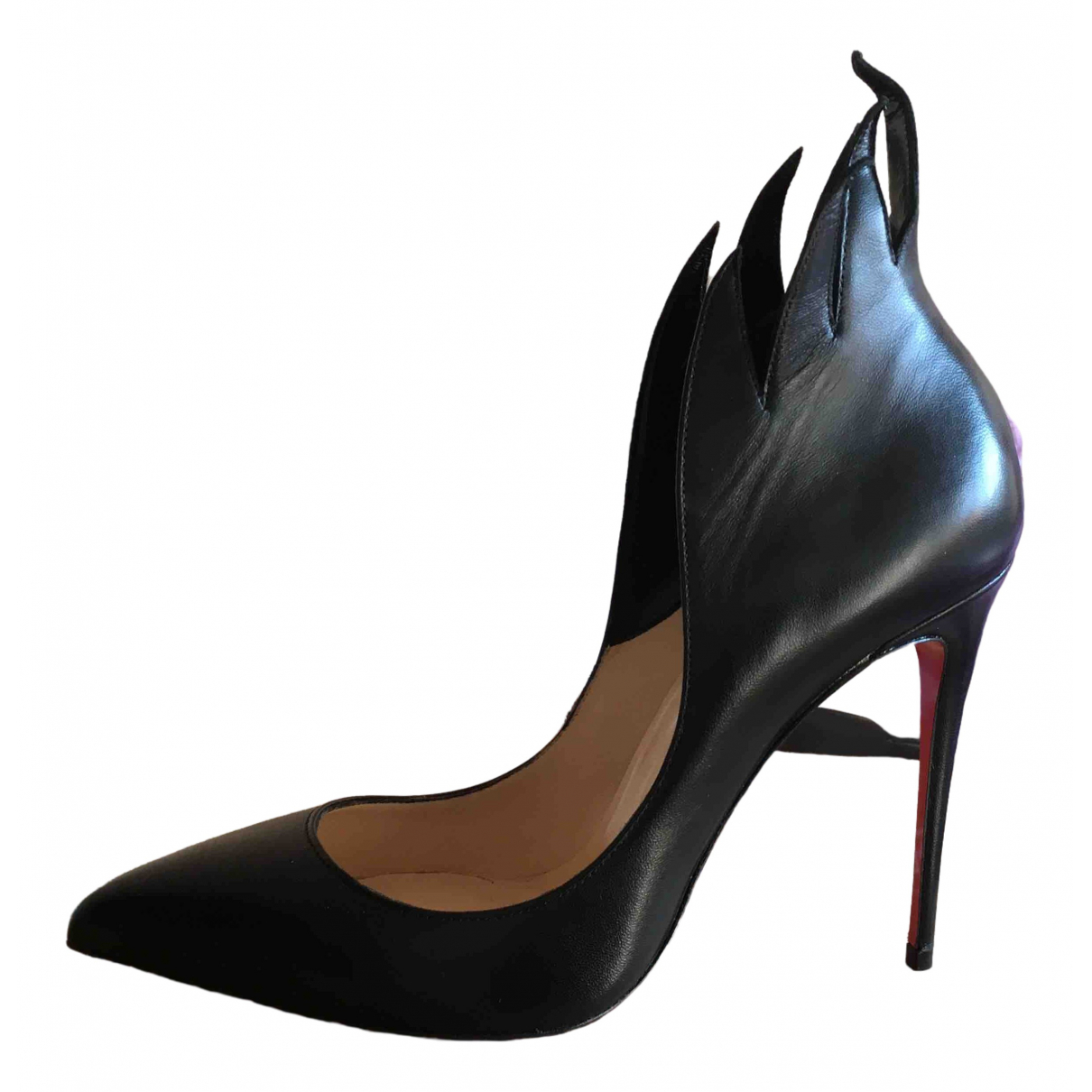 Christian Louboutin Very Privé Black Leather Heels for Women 39 EU