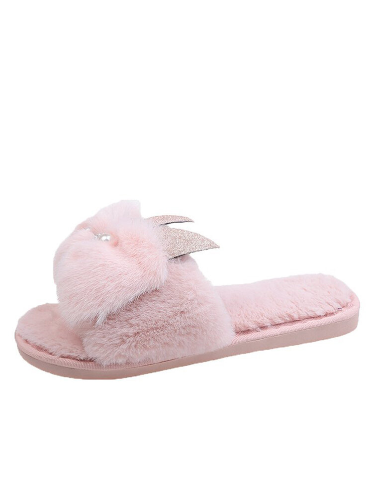 Women Casual Sheep Pattern Plush Warm Comfortable Home Slippers
