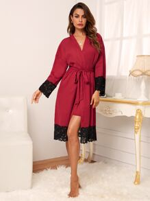 2pcs Contrast Lace Cami Night Dress & Belted Robe