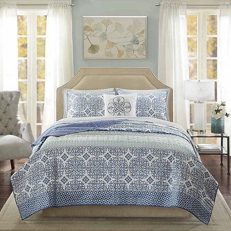 Madison Park Essentials Nova Coverlet and Sheet Set, One Size , Blue