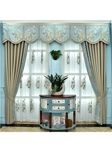 Elegant Smooth Fabric Embroidery Thick Blackout Grommet Curtains For Living Room Bedroom