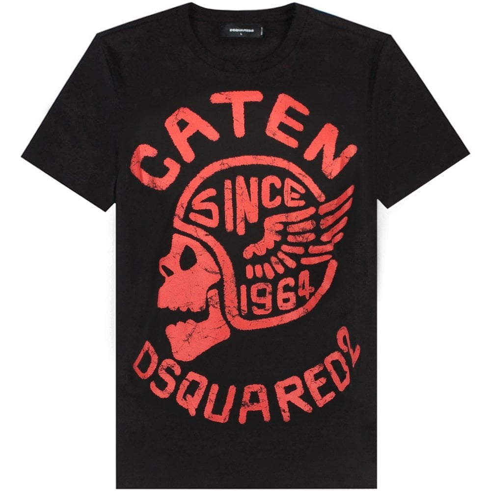 DSquared2 Caten Skull Graphic T-Shirt Colour: BLACK, Size: MEDIUM