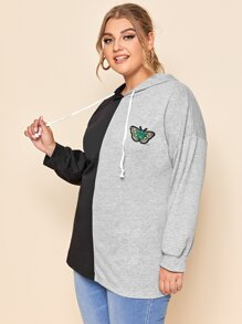 Plus Butterfly Embroidered Spliced Drawstring Hoodie