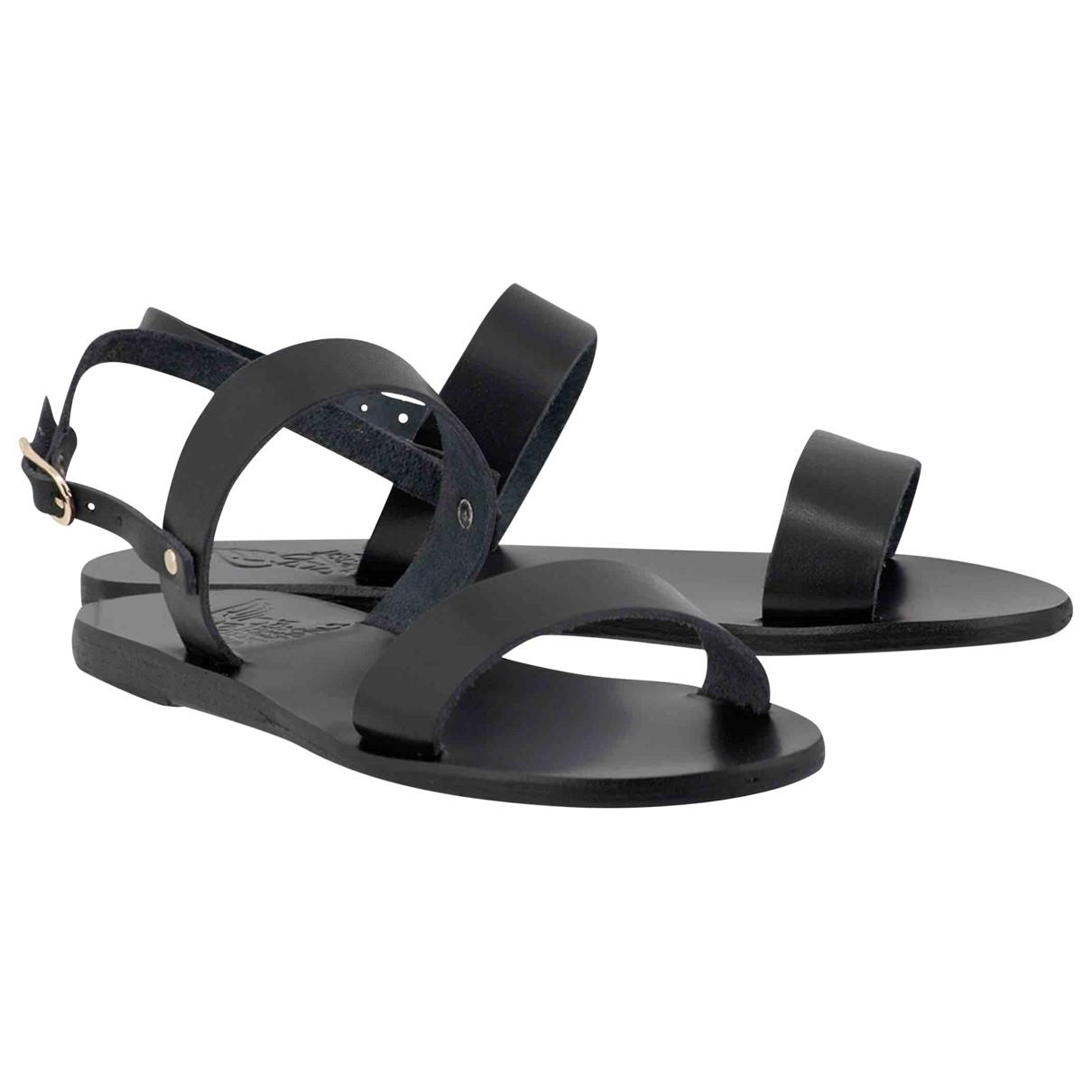 Ancient Greek Sandals \N Black Leather Sandals for Women 37 EU