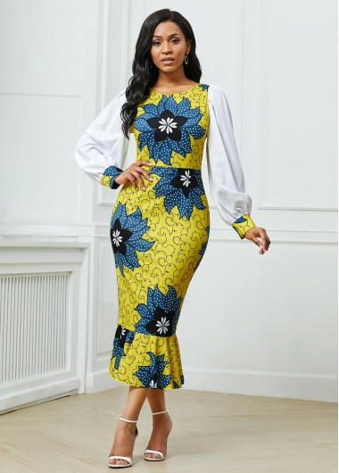 Wedding Guest Dress Round Neck Floral Print Lantern Sleeve Dress - L