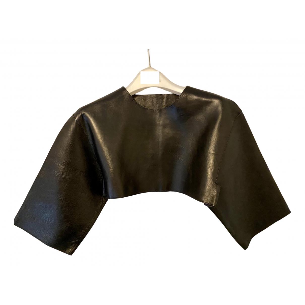 Celine N Black Leather  top for Women 40 IT