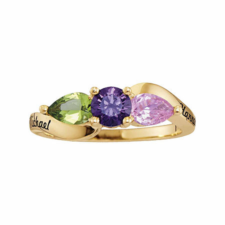 Personalized Simulated Birthstones Couples 3-Stone Ring, 7 , Yellow