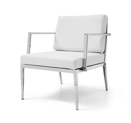 CH1093R-WHT Nancy Armchair  White  leather  Chrome