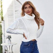 Turtleneck Popcorn Knit Crop Sweater
