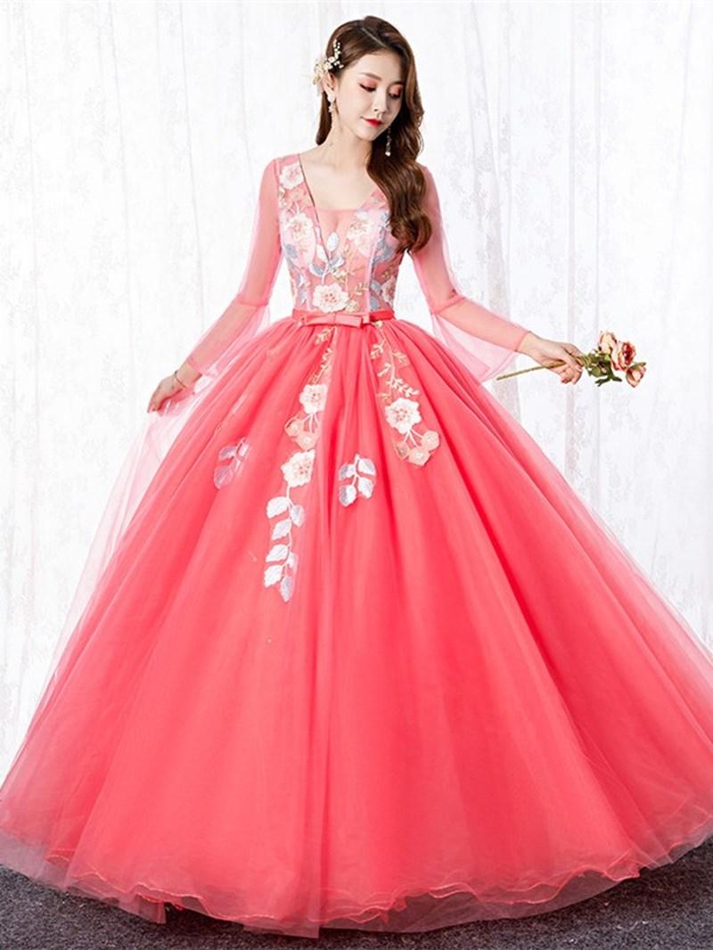 Ericdress Appliques Ball Gown Long Sleeves Floor-Length Quinceanera Dress