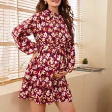 Maternity Buttoned Front Self Belted Frill Trim Floral Dress