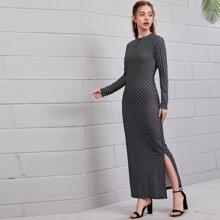 Striped Slit Hem Bodycon Dress