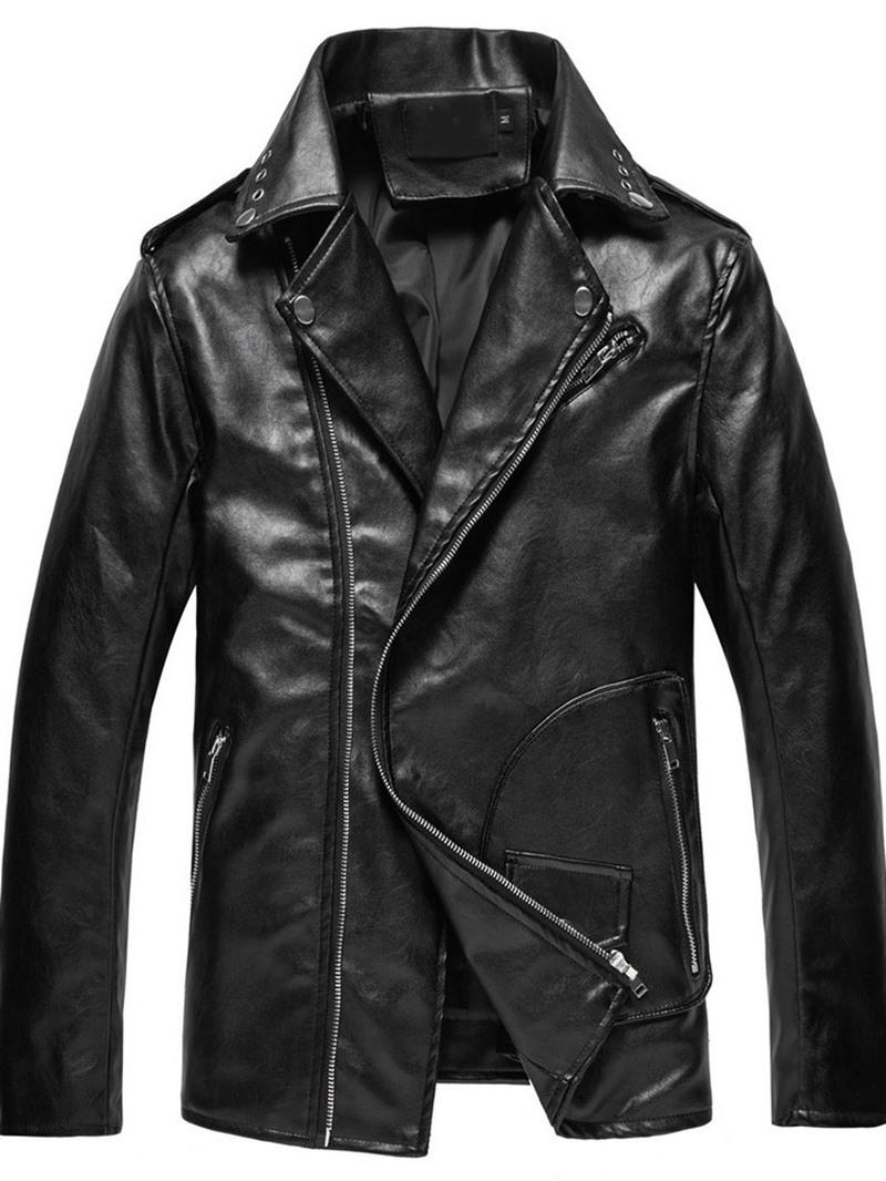 Ericdress Standard Lapel Plain European Winter Leather Jacket