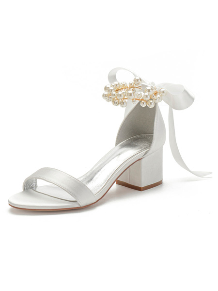 Milanoo Ivory Wedding Shoes Satin Open Toe Pearls Bows Chunky Heel Bridal Shoes Block Heel Bridesmaid Shoes
