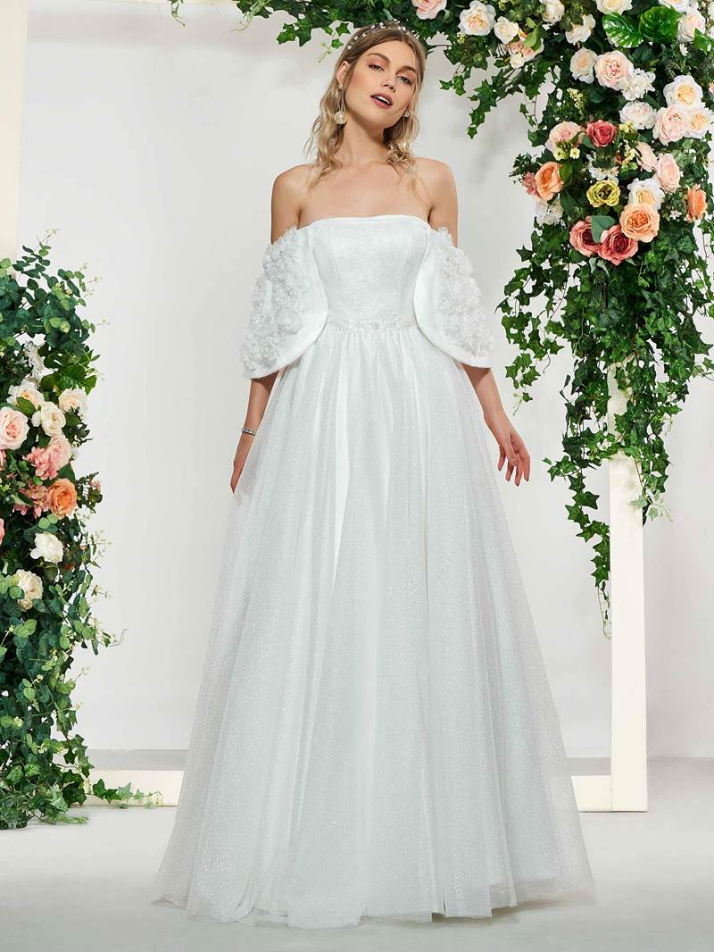 Ericdress Off-The-Shoulder 3D Floral Wedding Dress